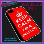 FITS IPHONE 4 / 4S PHONE KEEP CALM IM A  DOCTOR PLASTIC COVER COOL GIFT RED